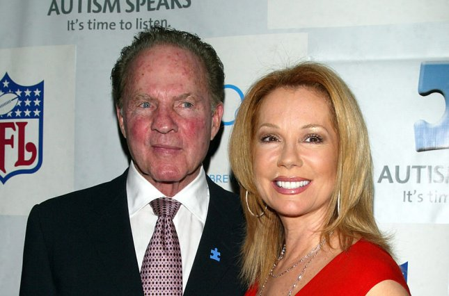 Kathie Lee Gifford (R) and Frank Gifford at the Autism Speaks NFL Kickoff for a Cure benefit on March 14, 2007. Kathie Lee honored her late husband at the couple's Broadcasting & Cable Hall of Fame induction ceremony Tuesday. File photo by Laura Cavanaugh/UPI