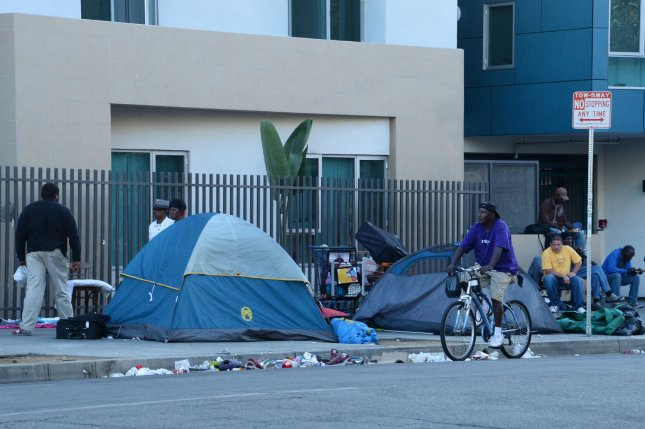 A homeless encampment in Los Angeles. The HUD is reporting a continuing decline in homelessness in the United States, especially that among veterans and families. Photo by Jim Ruymen/UPI