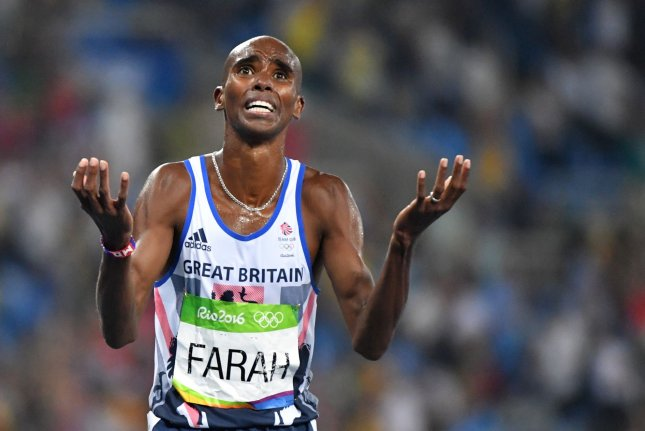 Mohamed Farah of Great Britain reacts after winning the gold medal in the Men's 5000 meter Final at Olympic Stadium at the 2016 Rio Summer Olympics in Rio de Janeiro, Brazil, on August 20, 2016. Photo by Kevin Dietsch/UPI