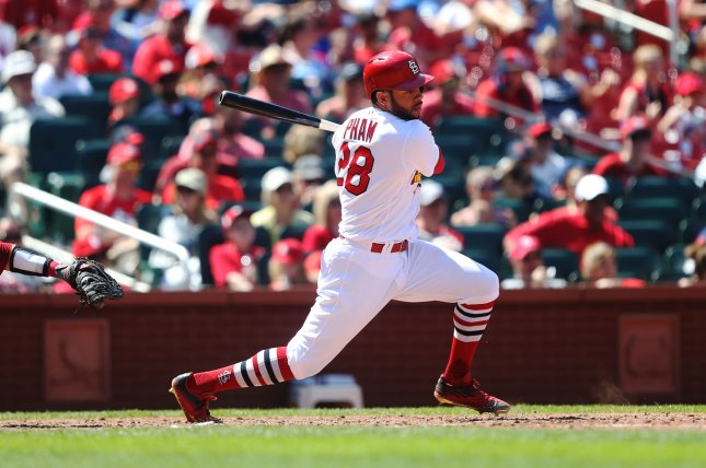 St. Louis Cardinals' Tommy Pham swings and gets a base hit. File photo by Bill Greenblatt/UPI