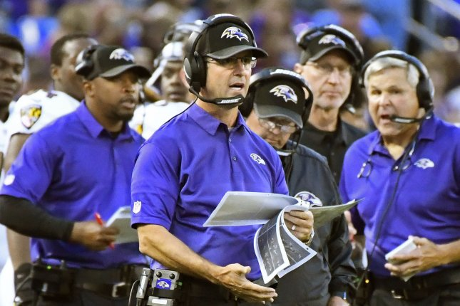 Baltimore Ravens head coach John Harbaugh walks the sidelines against the Buffalo Bills during the first half of an NFL preseason game at M&T Bank Stadium in Baltimore, Maryland, August 26, 2017. File photo by David Tulis/UPI