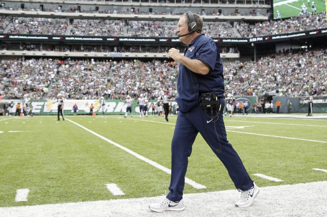 New England Patriots head coach Bill Belichick stands inside the 20 yard line after his team scores a touchdown in the 3rd quarter against the New York Jets in week 6 of the NFL at MetLife Stadium in East Rutherford, New Jersey on October 15, 2017. File photo by John Angelillo/UPI