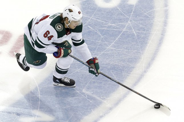 Mikael Granlund and the Minnesota Wild take on the Dallas Stars on Friday. Photo by John Angelillo/UPI