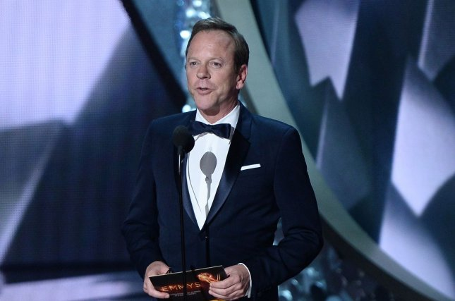 Actor Kiefer Sutherland shared a video of him hugging a Christmas tree Thursday. File Photo by Jim Ruymen/UPI
