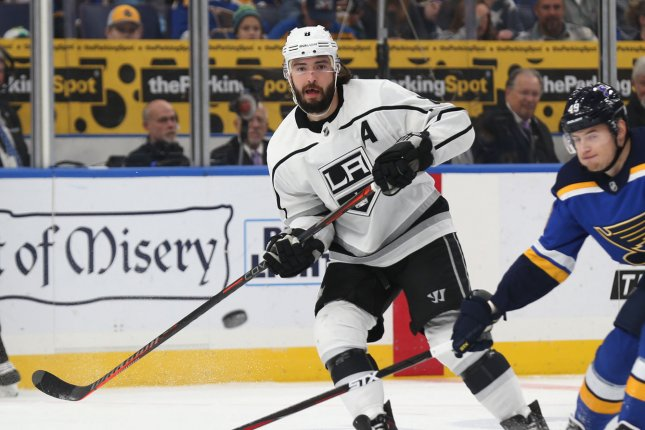 Drew Doughty and the Los Angeles Kings take on the Columbus Blue Jackets on Thursday. Photo by Bill Greenblatt/UPI