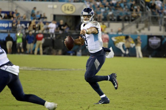 Tennessee Titans quarterback Marcus Mariota (pictured) was replaced by backup Ryan Tannehill in the third quarter of Sunday's game against the Denver Broncos. File Photo by Joe Marino/UPI