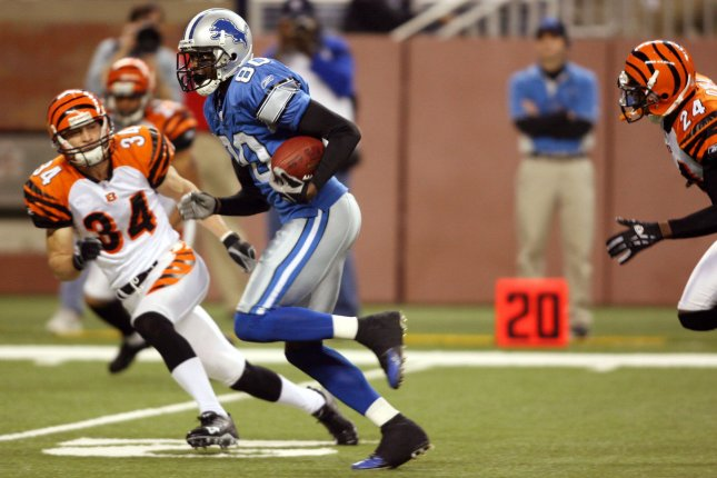 Former Detroit Lions wide receiver Charles Rogers (80) appeared in just 15 games for the franchise after being selected with the No. 2 overall pick in the 2003 NFL Draft. File Photo by Scott R. Galvin/UPI