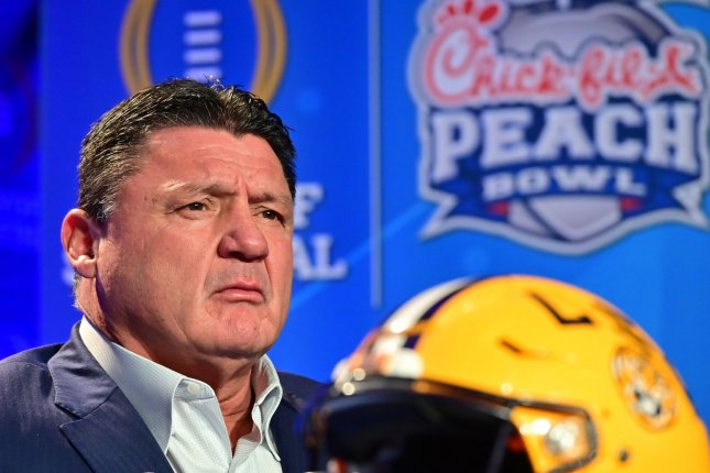 LSU football coach Ed Orgeron leads the No. 1 Tigers against No. 4 Oklahoma at the 2019 Peach Bowl as part of the College Football Playoff semifinals Saturday in Atlanta. Photo by David Tulis/UPI