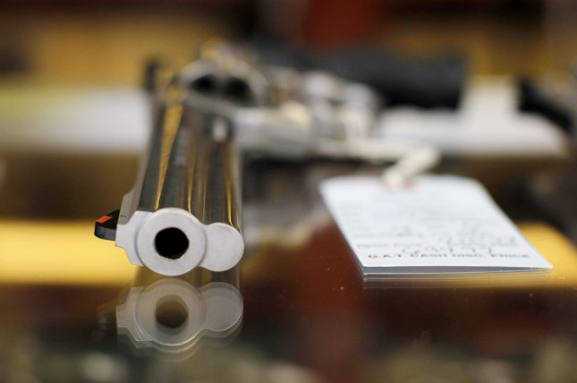 A .357 magnum revolver is seen at an Illinois gun shop. The FBI said it processed 850,000 more background checks last month than it did in February. File Photo by Brian Kersey/UPI