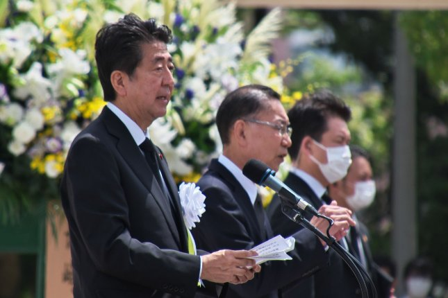 The health of Prime Minister Shinzo Abe (L) is under scrutiny following hospital visits, according to Japanese press reports on Thursday. File Photo by Kezio Mori/UPI
