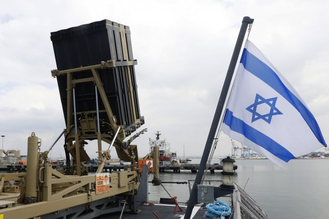 The Israeli military said its Iron Dome Aerial Defense System intercepted one of two rockets launched from Lebanon toward Israel early Tuesday. The second rocket fell in an open field, it said. Pool photo by Jack Guez/UPI