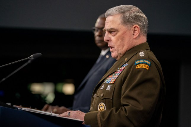Chairman of the Joint Chiefs of Staff Gen. Mark A. Milley delivers remarks about the end of the 20-year military mission in Afghanistan at the Pentagon, in Arlington, Va. on Wednesday. Photo by Ken Cedeno/UPI