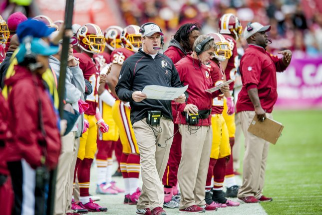 Washington Redskins' head coach Jay Gruden on the sidelines during the first quarter against the Philadelphia Eagles at FedExField on October 4, 2015 in Landover, Maryland. The Redskins won the game 23-20. Photo by Pete Marovich/UPI