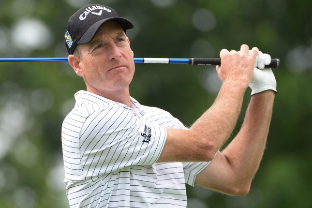 Jim Furyk hits a drive on the third hold of his first round during the Friday round of the U.S. Open golf championship at Oakmont Country Club near Pittsburgh, Pennsylvania on June 17, 2016. Furyk was just starting his first round due to the rain delays yesterday and will play his second 18 later today. Photo by Pat Benic/UPI