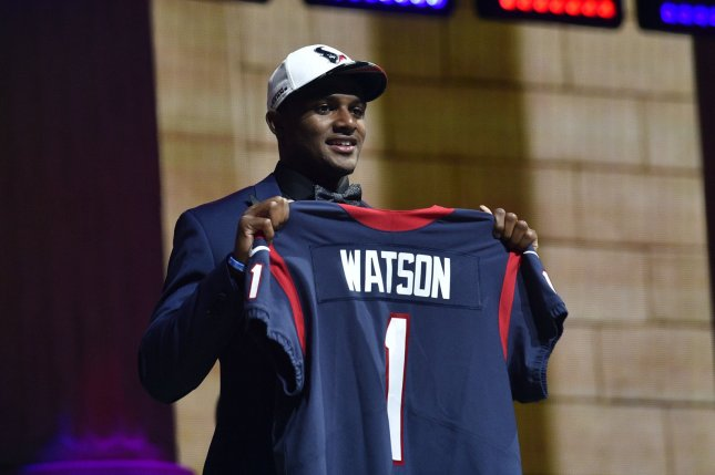 Deshaun Watson poses for photographs after being selected by the Houston Texans with the 12th overall pick in the 2017 NFL Draft. Photo by Derik Hamilton/UPI