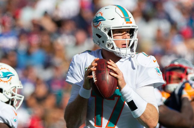 Miami Dolphins quarterback Ryan Tannehill (17) drops back for a pass in the third quarter against the New England Patriots at Gillette Stadium in Foxborough, Massachusetts on September 30, 2018. Photo by Matthew Healey/UPI