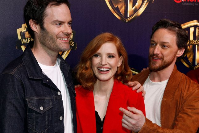 It: Chapter Two stars Bill Hader, Jessica Chastain and James McAvoy. The first teaser trailer for the film will be released on Thursday. File Photo by James Atoa/UPI
