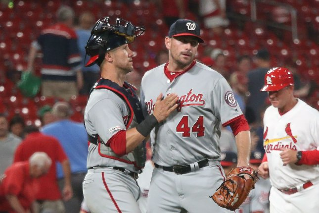 Washington Nationals pitcher Daniel Hudson (44) earned his fourth save of the season after pitching the final two innings during a win against the St. Louis Cardinals Tuesday in St. Louis. Photo by Bill Greenblatt/UPI