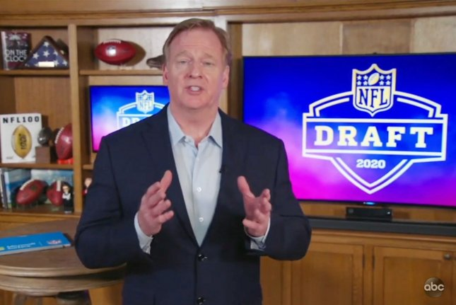 NFL commissioner Roger Goodell announced the picks from his Bronxville, N.Y., home during the first round of the 2020 NFL Draft. Screenshot from ABC-John Angelillo/UPI