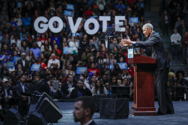 Former President Barack Obama speaks during a Democratic Party campaign rally in Chicago, Ill., on November 4, 2018. Monday, he endorsed 118 candidates for public office in the 2020 election. File Photo by Kamil Krzaczynski/UPI