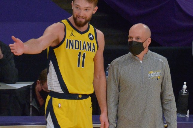 Indiana Pacers head coach Nate Bjorkgren (R), shown March 12, 2021, had one guaranteed year remaining on his original three-year contract. File Photo by Jim Ruymen/UPI