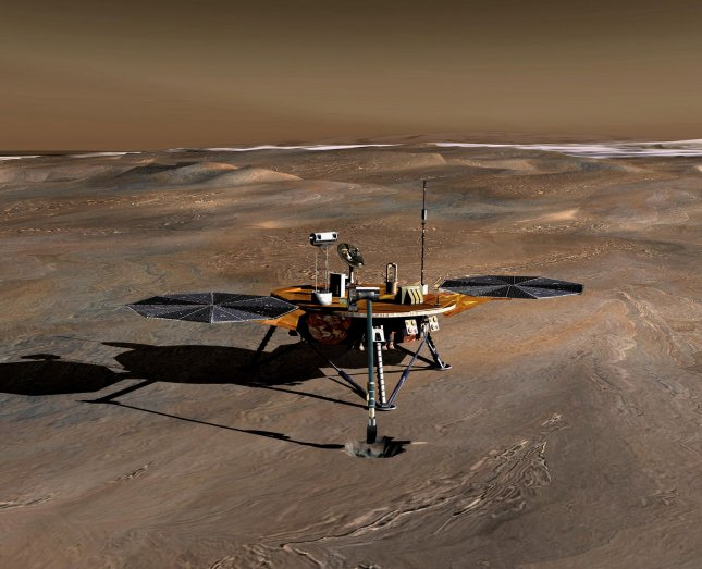 In this artist conception, the Phoenix Mars Lander, which launched in August 2007 and the first project in NASA's Mars Scout missions, landed on Mars on May 25, 2008. The mission's plan is to land in icy soils near the north polar permanent ice cap of Mars and explore the history of the water in these soils and any associated rocks, while monitoring polar climate.The spacecraft and its instruments are designed to analyze samples collected from up to a half-meter (20 inches) deep using its robotic arm. The arm extends forward in this artist's concept of the lander on Mars. (UPI Photo/NASA)