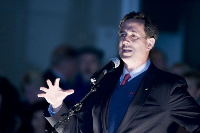 GOP presidential hopeful Rick Santorum in Tacoma, Wash., Feb. 13, 2012. UPI/Jim Bryant