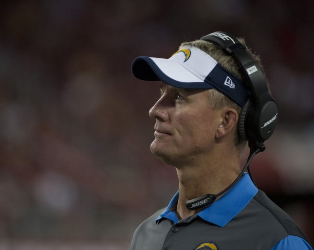 San Diego Chargers coach Mike McCoy is beyond furious that his team has lost the lead in the fourth quarter every game this season. Is his job on the line? Every day. Photo by Terry Schmitt/UPI