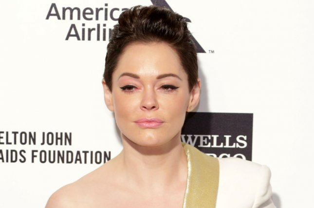 Rose McGowan arrives for the Elton John AIDS Foundation Academy Awards Viewing Party at West Hollywood Park in Los Angeles on February 22, 2015. File Photo by Jonathan Alcorn/UPI