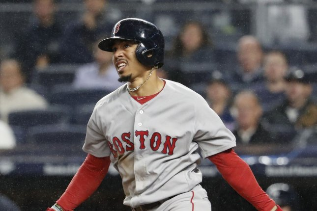 Boston Red Sox Mookie Betts drove in the final three runs to help the Red Sox beat the Blue Jays Thursday evening. File photo by John Angelillo/UPI