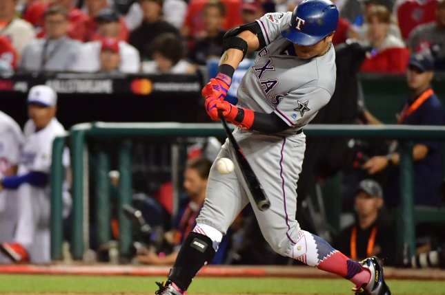 Texas Rangers outfielder Shin-Soo Choo (17) hits a single against the National League during the eighth inning of the MLB All-Star Game on July 17 at Nationals Park in Washington, D.C. Photo by Kevin Dietsch/UPI