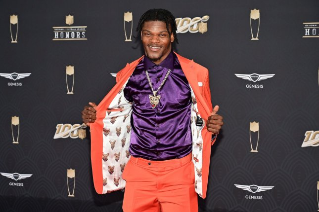 Baltimore Ravens quarterback Lamar Jackson set an NFL record for the most rushing yards by a quarterback in a single season by running for 1,206 yards in 15 games in 2019. Photo by David Tulis/UPI