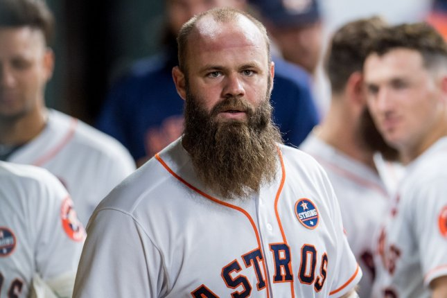 Evan Gattis played four seasons for the Houston Astros before retiring after the 2018 season. File Photo by Trask Smith/UPI