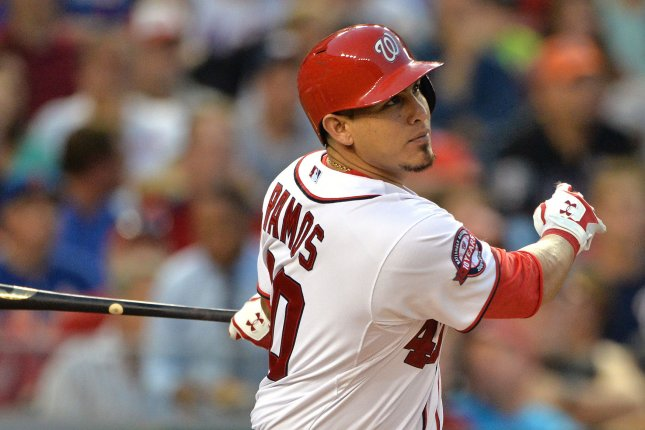 Former Washington Nationals catcher Wilson Ramos, shown July 21, 2015, was in his first season with the Cleveland Indians. He had a .226 batting average with two home runs and seven RBIs for the club. File Photo by Kevin Dietsch/UPI