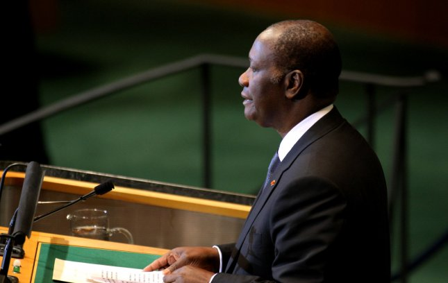 Alassane Ouattara, president of the Ivory Coast, addresses the 66th session of the United Nations General Assembly at the UN on September 22, 2011 in New York City. UPI/Monika Graff