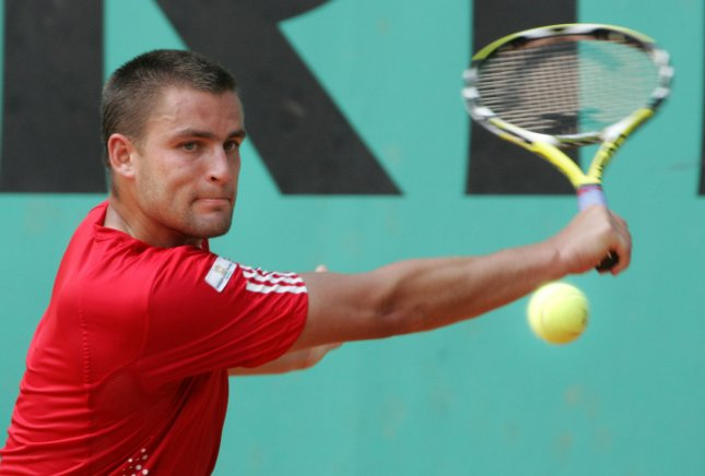 Mikhail Youzhny, in a photo taken at last year's French Open, won a second-round match Wednesday at a tournament in France. (UPI Photo/Eco Clement)