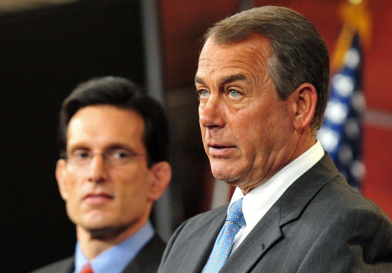 Speaker of the House John Boehner (R-OH) speaker alongside House Majority Leader Eric Cantor (R-VA) holds his first press conference as Speaker, on Capitol Hill in Washington on January 6, 2011. UPI/Kevin Dietsch