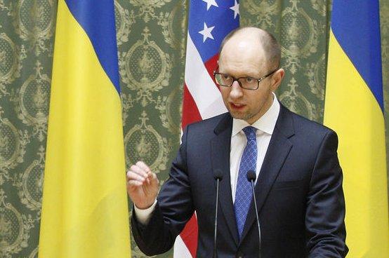 Ukrainian Prime Minister Arseniy Yatsenyuk speaking at a news conference in Kiev, Ukraine on April 22, 2014. (UPI/Ivan Vakolenko)