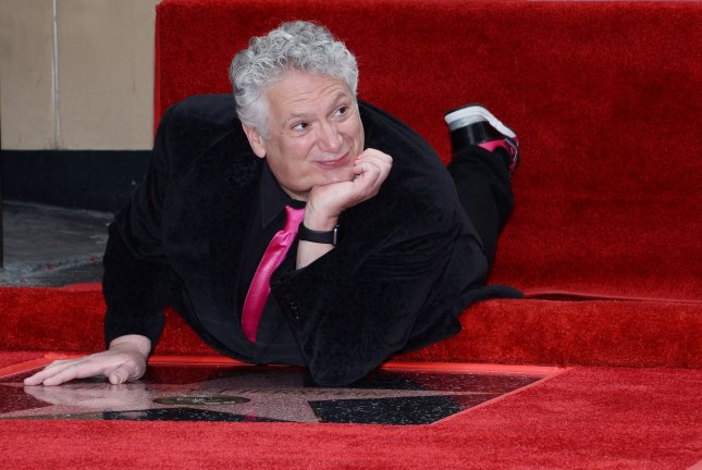 Hairspray Live! actor Harvey Fierstein poses during a double unveiling ceremony honoring him and singer Cyndi Lauper with the 2,577th and 2,578th stars on the Hollywood Walk of Fame on April 11, 2016. File Photo by Jim Ruymen/UPI