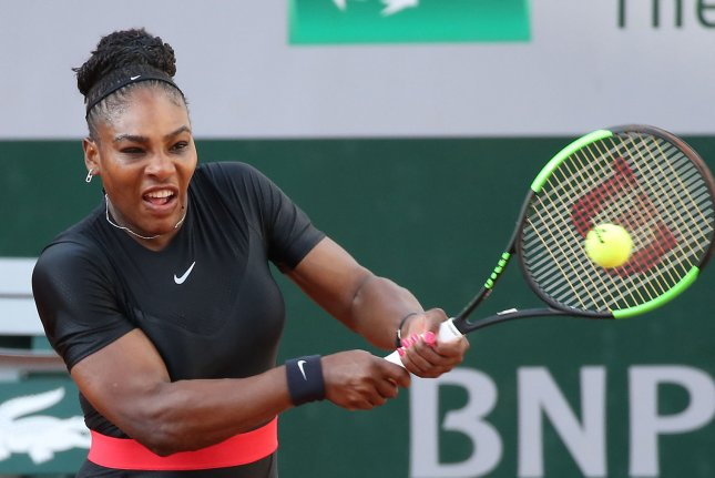 American Serena Williams hits a shot during her French Open women's third-round match against Julia Goerges of Germany Saturday at Roland Garros in Paris. Photo by David Silpa/UPI