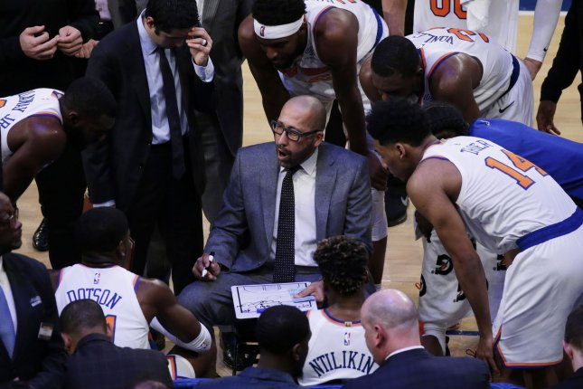Coach David Fizdale and the New York Knicks visit the Memphis Grizzlies on Sunday. Photo by John Angelillo/UPI