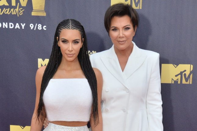 Kim Kardashian (L), pictured with Kris Jenner, said her mom used to worry she would become a crazy drug addict. File Photo by Jim Ruymen/UPI