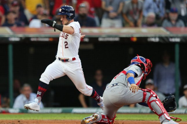 Houston Astros third baseman Alex Bregman scored the American League's first run during Tuesday's MLB All-Star Game. Photo by Aaron Josefczyk/UPI