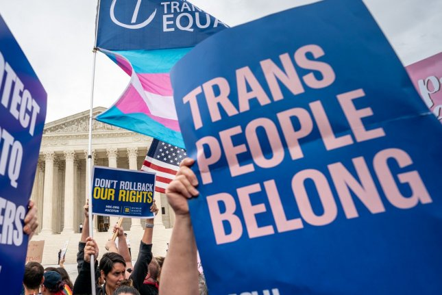 In a new Gallup Poll, 51% of respondents said transgenderism is morally wrong; 46% said it is morally acceptable. File Photo by Kevin Dietsch/UPI