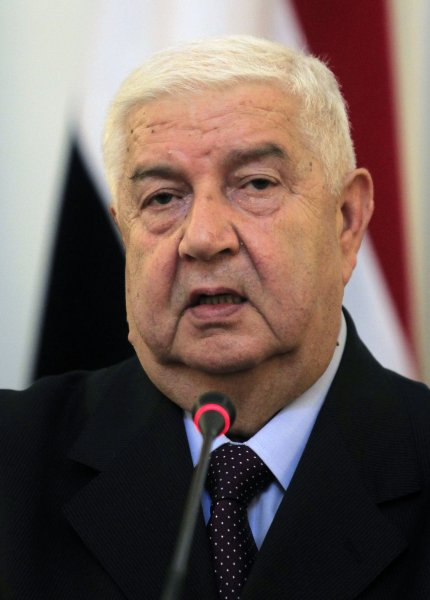 Syrian Foreign Minister Walid al-Muallem speaks at joint press conference with Iranian Foreign Minister Ali-Akbar Salehi in Tehran, Iran on July 29, 2012. Muallem held talks with Iranian officials regarding the recent developments in Syria. UPI/Maryam Rahmanian
