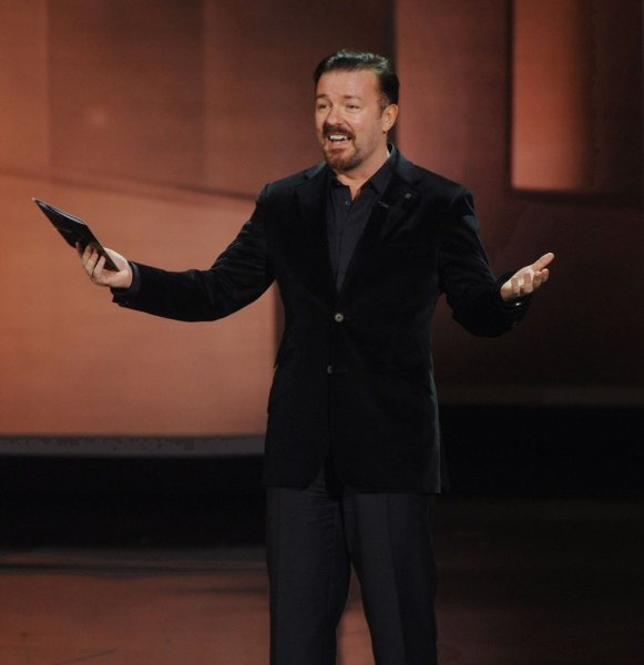 Actor Ricky Gervais presents an award during the 62nd annual Primetime Emmy Awards in Los Angeles, on August 29, 2010. UPI/Jim Ruymen