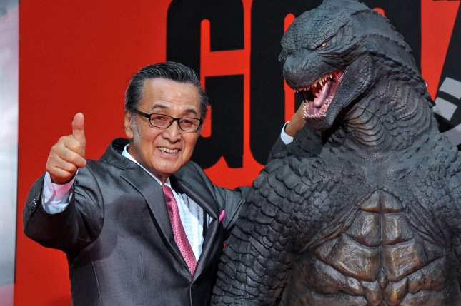 Japanese actor Akira Takarada attends the premiere of the film Godzilla in Tokyo, Japan, on July 10, 2014. He acted in the 1954 version of Godzilla. File Photo by Keizo Mori/UPI