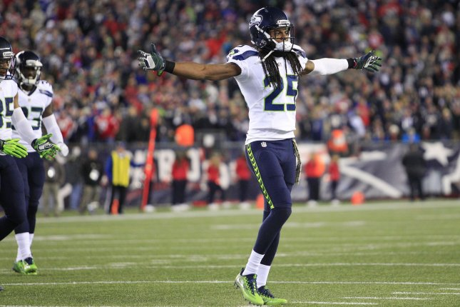 Seattle Seahawks cornerback Richard Sherman (25) celebrates after the Seahawks stopped the New England Patriots in the final seconds of the fourth quarter at Gillette Stadium in Foxborough, Massachusetts on November 13, 2016. The Seahawks defeated the Patriots 31-24. Photo by Matthew Healey/ UPI