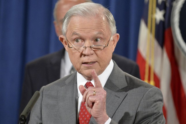 U.S. Attorney General Jeff Sessions said Friday his Justice Department is reviewing subpoena policies related to journalists who cite anonymous sources in leaking classified information. Photo by Mike Theiler/UPI.