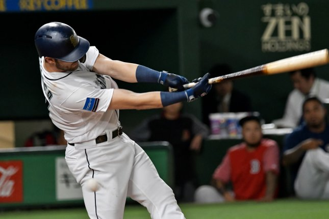Both of Mitch Haniger's two home runs in the Seattle Mariners' last two spring training games were shown on the MLB's experimental umpire camera Saturday and Monday at the Tokyo Dome in Japan. File Photo by Keizo Mori/UPI
